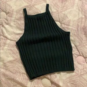Forest Green Ribbed Knit Crop Top